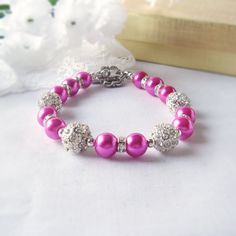 Hot Pink Pearl Bracelet with Alloy Rhinestone Ball by fayeslipp