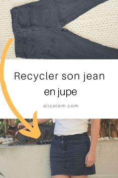 How to recycle your jeans with holes in a skirt zero waste tip to test Sewing Clothes, Diy Clothes, Jeans Refashion, Diy Jeans, Diy Vetement, Recycle Jeans, T Shirt Diy, Diy Fashion, Lingerie