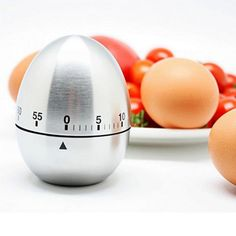 Egg Shaped Stainless Steel Timer Kitchen Timer Mechanical Alarm Clocks 60-minute economical and practical