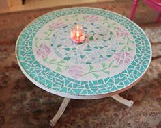 round shabby chic white distressed mosaic glass coffee table