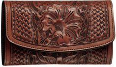 Leather ~ Russet Clutch Purse- I like the basketweave combination with the floral.
