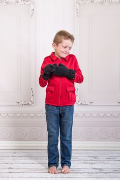 Boys Red Military Jacket with snap-on mittens