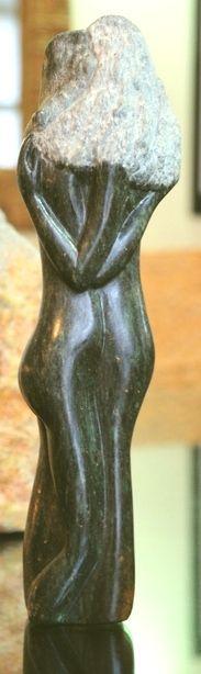 Girl Friends, amogis 2011, black serpentine Stone Sculpture, Sculptures, Vase, Friends, Black, Decor, English, Kunst, Amigos