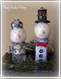 Altered salt & Pepper Shaker Paper Clay Snowmen