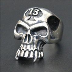 Stainless Steel 13 Spade Skull Ring at Crimson Savage Skull Head, Skull Art, Stainless Steel Jewelry, 316l Stainless Steel, Lucky Number 13, Moto Suzuki, Savage Life, Vampire Teeth, Skull Design