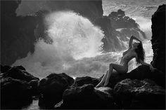 Atlantic Mermaid II B&W - Anuschka on the Island of Lanzarote Nymph, Wilderness, Travel Photos, Wander, Mermaid, Nude, Island, Concert, Amazing