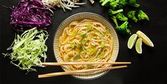 No matter what time of year, a warm bowl of vegan Pho is always satisfying. Enjoy this gluten-free pho recipe as a complete lunch or dinner. Whole Food Recipes, Soup Recipes, Vegetarian Recipes, Cooking Recipes, Healthy Recipes, Vegetarian Pho, Noodle Recipes, Gluten Free Soup, Vegan Gluten Free