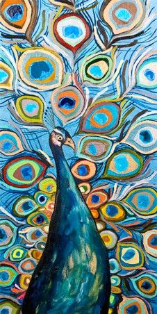 PEACOCK - METALLIC OCEAN BLUE  - Canvas wall art (modern home decor) at GreenBox Art + Culture