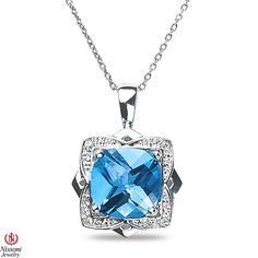 NissoniJewelry.com presents - Ladies Diamond Accent Pendant and chain with Blue Topaz in 10k White Gold    Model Number:P7716A-W077BT    Price:$199.99    https://nissonijewelry.com/jewelry/ladies-diamond-accent-pendant-and-chain-with-blue-topaz-in-10k-white-gold/p7716a-w077bt.html