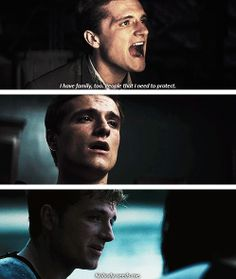 I think this shows how amazing peeta is, he wants to protect people that he knows don't even need him.