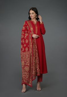 A Global Luxury Design House reinterpreting Indian heritage threads for the modern, discerning consumer - Crimson Red- Beige Hand Embroidered Phulkari Suit Source by ronjaogl - Pakistani Dress Design, Pakistani Outfits, Indian Outfits, Indian Clothes, Dress Indian Style, Indian Dresses, Indian Attire, Indian Wear, Red Indian