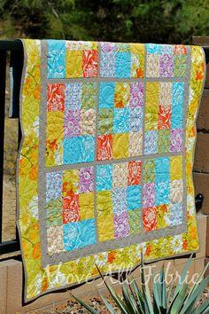 "Sodoku Quilt by Melanie Dramatic, via Flickr..9 fabrics for 5"" blocks, 1.5"" sashing between, 2.5"" border and 4.5"" border"