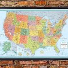 32x50 Rand McNally United States USA Signature PushPin Travel Wall ...