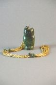 Vintage Jade Owl Necklace Bohemian Gold Tone Chain Chinese