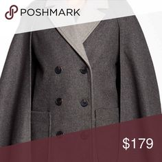 """❗️1-HOUR SALE❗️BCBG Cape Coat 💟NEW WITH TAGS💟 RETAIL PRICE: $300 SIZE- M BCBG CAPE COAT   * Notch collar  * Front double breasted closure  * 2 front deep patch pockets  * Top stitch entail & tonal contrasting buttons   * Oversized fit, Approx 30"""" long  * Well made & high quality   Material: Polyester, acrylic, 17%wool, 3% nylon Color: Charcoal Item#B99900 Search words# Structured & not a slouchy style wrap coat cardigan 🚫No Trades🚫 ✅ Offers Considered*✅ *Please use the blue 'offer'…"""