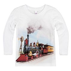 bc0ccd74 Shirts That Go Little Boys' Long Sleeve Old West Steam Train T-Shirt