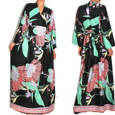 1960s Floral Asian Deco Print Kimono Maxi. A curated selection of designer & unique vintage by A Part of the Rest