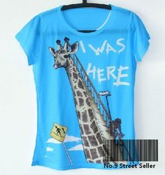 Vintage Retro Cool Rock&Roll Punk T-shirt Top T Tee I am Behind Giraffe Ladder