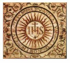 Anagrama, signo y símbolo del Santísimo Nombre de JESUS, y de la Compañía fundada por san Ignacio de Loyola.