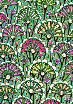 Florale Ornamente im Jugenstil für die Tapete.