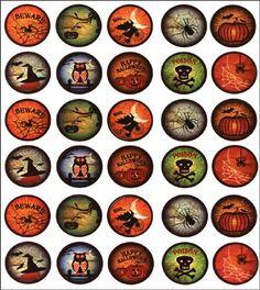Bottle Cap Images to make Halloween magnets...