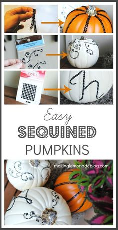 Ah ha! Here's a secret tip for making professional looking (and sparkly!) pumpkins in just minutes; monogrammed pumpkins too! #homedecor #fall