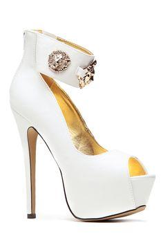 bd212bb6a509 Gold Lion White Peep Toe Pumps   Cicihot Heel Shoes online store sales Stiletto  Heel Shoes