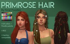Feral Poodles Sims Primrose Hair - Maxis Match CC A hair for your nature witches and potion make Sims 4 Cc Packs, Sims 4 Mm Cc, My Sims, Sims Mods, Sims 4 Game Mods, Maxis, Poses, Sims Medieval, The Sims 4 Cabelos