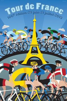 The 2013 Tour de France celebrated the anniversary of the Edition of the famed race. Michael Valenti originally designed the art featuring riders around the Eiffel Tower for Velo Magazine's Tour de France Issue and it is now available as a canvas print. Eiffel Tower Tour, France Eiffel Tower, Poster Online, Bike Poster, Bicycle Race, Bicycle Shop, Cycling Art, Bike Art, E Bay