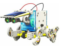 14 in 1 Educational Solar Robot Kit - Kids Science Toys  The solar powered robot can be transformed into 14 different robot modes which include a multitude of comical and functional movements. The user can easily change from a wagging-tail, running beetle, walking crab, surfer, speedster or to a 'zombie chaser'. The robot kit provides unique accessories (included) and parts that make the robot move on land and water.