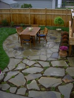 Attractive Natural Stone Patio, Different Applications To Designate Seating Area And  Walkway.