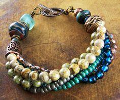 Teal Lampwork Bracelet Rustic Copper Multi Strand OOAK | ChrysalisJewelry - Jewelry on ArtFire