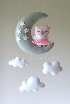 Baby mobile Owl mobile ballerina mobile pink gray mobile