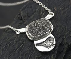 Drusy Pendant Necklace with Bird Charm and by RoxysJewelry on Etsy, $76.00