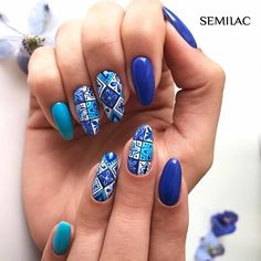 23 Beautiful Nail Art Designs and French Manicure in Acrylic and Gel polish.Trending summer nail pattern. Blue, Pink, Purples Rainbow, Coral, Floral colors. Royal blue nail patterns for summer. Turquoise and blue patterned nail art.