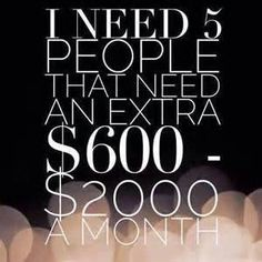 Could you benefit from an extra $500, $1000, or even $10,000+ per month in additional income?  I can help....  I am looking to add 5 new people to my team by the end of the month-- March 31st!  If you join with any of our kits, you will get a CASH sign on bonus!!!  Not to mention our company will reimburse you for your kit TWICE!!  This company is offering an amazing opportunity to join them in business as they begin taking their products worldwide.  You may have heard that o