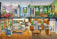 Cutaway house cross section illustration by Rabinky Art