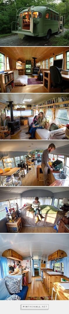 Tiny house old short bus Bus Living, Tiny House Living, Kombi Home, Bus House, Bus Life, Tiny Spaces, House On Wheels, Motorhome, Little Houses