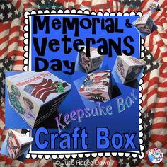 """Veterans Day Keepsake Box: printable to color, cut and glue. Veterans Day images of USA flags, veterans, stars and stripes. Two templates included: one for Veterans Day and one for Memorial Day.   Keep Veterans and Memorial Day treasures inside, or seal the box as a beautiful memorial art piece. Approximate size: 2 ½ """" with step by step photo directions."""