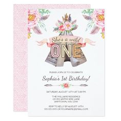 245 best 1st birthday invitations images on pinterest lyrics text floral boho tribal teepee wild one 1st birthday invitation stopboris Gallery