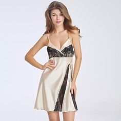 956637dc2 Ladies Sexy Rayon Silk Satin V-neck Nightgown 2 Colors Nightdress Black Lace  Sleepwear Harnesses Nightwear For Women