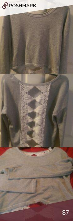 Top Cotton fleece w lace insert in the back Arizona Jean Company Tops Crop Tops