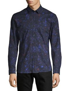 HUGO BOSS ERO FLORAL-PRINT COTTON BUTTON-DOWN SHIRT. #hugoboss #cloth