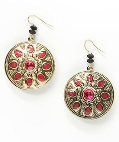 Another great find on #zulily! Pink & Gold Embellished Medallion Drop Earrings by Treska #zulilyfinds