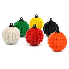 Christmas tree ball - ornament made with LEGO bricks, a modern classic. $13.00, via Etsy.