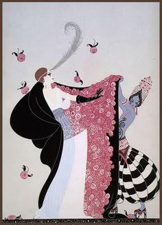 """The Flowered Cape"" by Erté, December 1981"