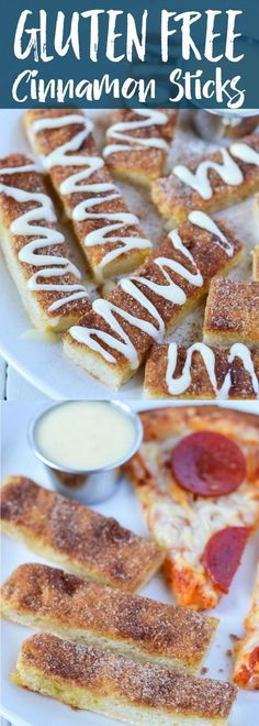 Gluten Free Cinnamon Sticks with the most addicting cream cheese icing for dipping and drizzling. (gluten free and dairy free) gluten free dessert recipes Gluten Free Deserts, Gluten Free Sweets, Gluten Free Breakfasts, Foods With Gluten, Gluten Free Cooking, Dairy Free Recipes, Baking Recipes, Dessert Recipes, Healthy Recipes