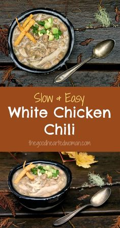 Slow Cooker White Chicken Chili {Gluten free, dairy free & low fat| The Good Hearted Woman: