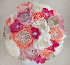 Brooch bouquet. Blush Pink, Ivory, Coral and Fuchsia wedding brooch bouquet, Jeweled Bouquet. Made upon request