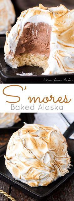 modern day version of an old classic. This S'mores Baked Alaska combines a fun retro dessert with your favourite campfire treat. Frozen Desserts, Sweet Desserts, Just Desserts, Sweet Recipes, Delicious Desserts, Yummy Food, Frozen Treats, Baking Recipes, Cake Recipes